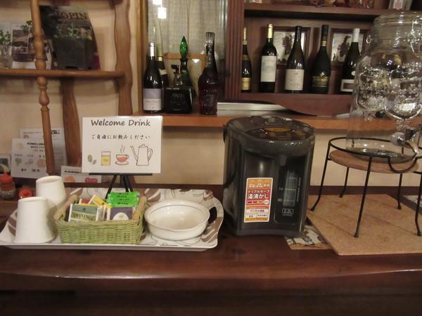 食堂にウェルカムドリンクご用意しました。ご自由にお召し上がりください。