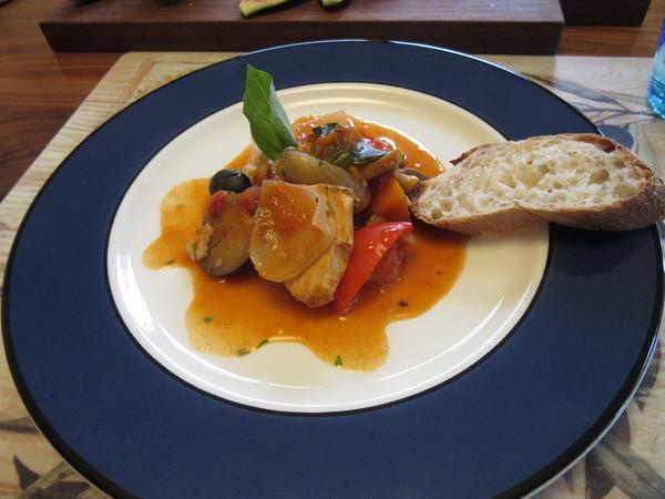 夏野菜とカジキのトマトソース煮