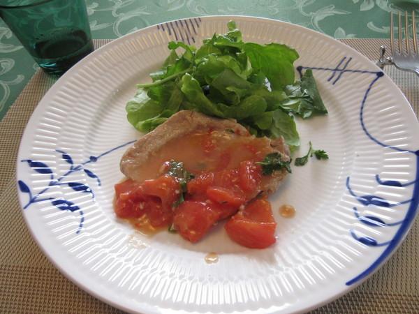 薄切り肉のソテートマト風味