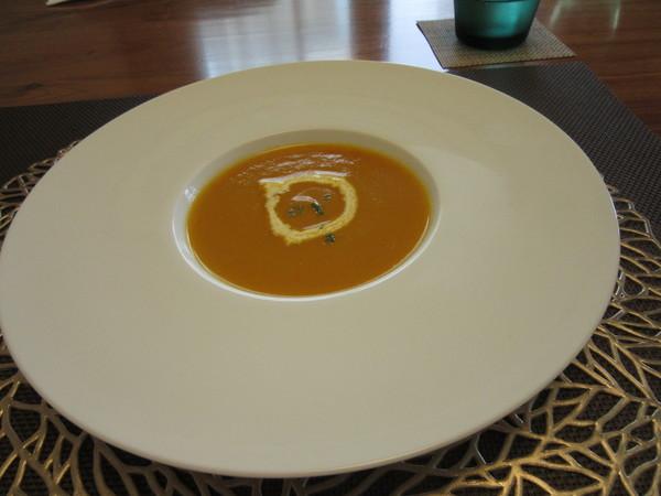 カボチャとナスと赤ピーマンのスープ